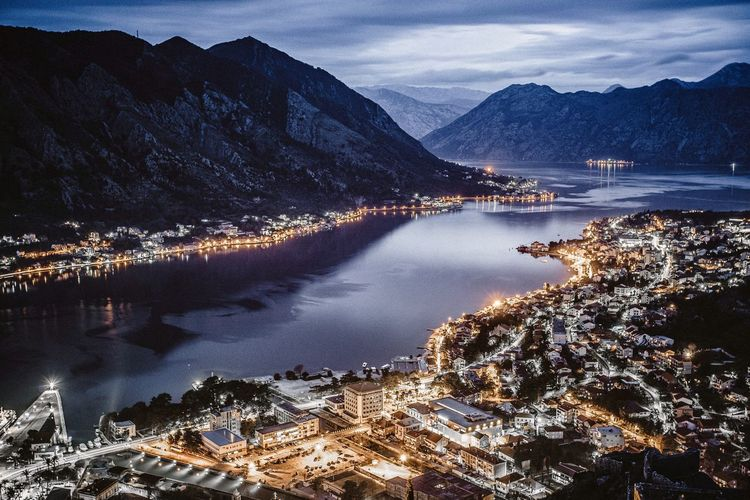 Kotor city during blue hour