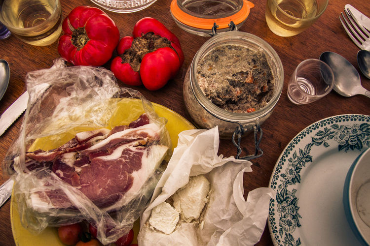 Close-up Day Dinner Food Food And Drink France Freshness Healthy Eating High Angle View Indoors  Ingredient Meat No People Outdoors Picknick Preparation  Raw Food Summer Table Tomato Variation Vegetable
