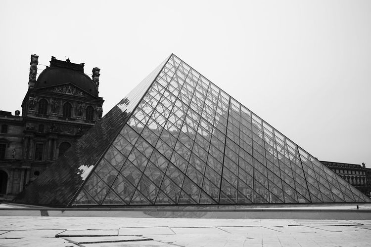 Architecture Black And White Blackandwhite Building Exterior Built Structure Day Louvre Museum No People Outdoors Paris Paris, France  Pyramid Sky Sony SONY A7ii Tourism