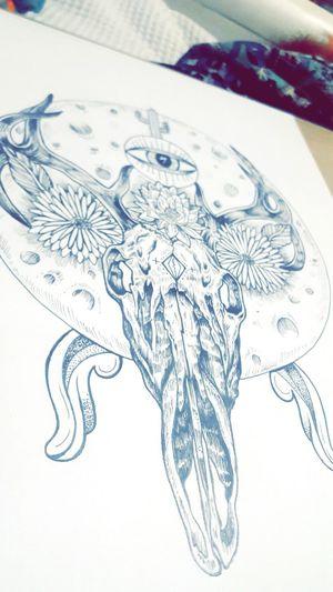 Oh Crystal Ball Deer Stag HEAD Skull Animal POTD Life Createdaily Love Inspire Melbourneartists Fineliner Daisies Crystalball Beautiful ThirdEye Moon Galaxy Art Artist Illustration