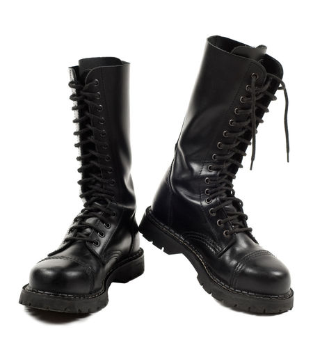 Pair of black leather bovver boots with laces, objects isolated on white background, vertical orientation, nobody. Army Black Black Color Boot Boots Bovver Bovver Boots Combat Boots Footgear Footwear Lace Laces Leather Military Pair Rugged Shoe Shoes Sole Steel-toe Studio Shot