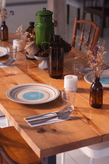 Rustic table setting at sunny day Close-up Dry Flower  Indoors  Rustic Spoon Sunny Day Table Tables