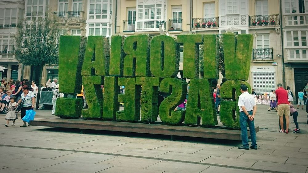 In The Street Gasteiz Vitoria / Gasteiz People And Art People Photography Green Art Artistic