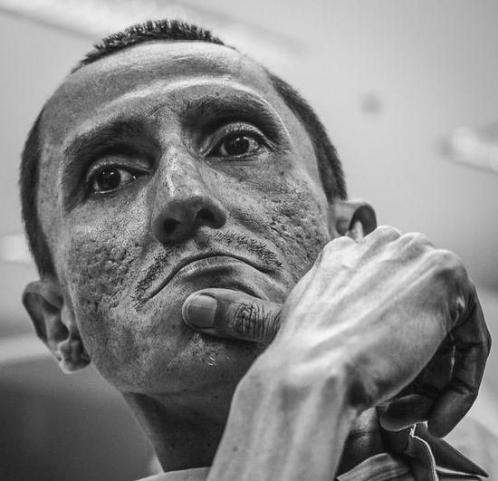 Close-up portrait of man statue
