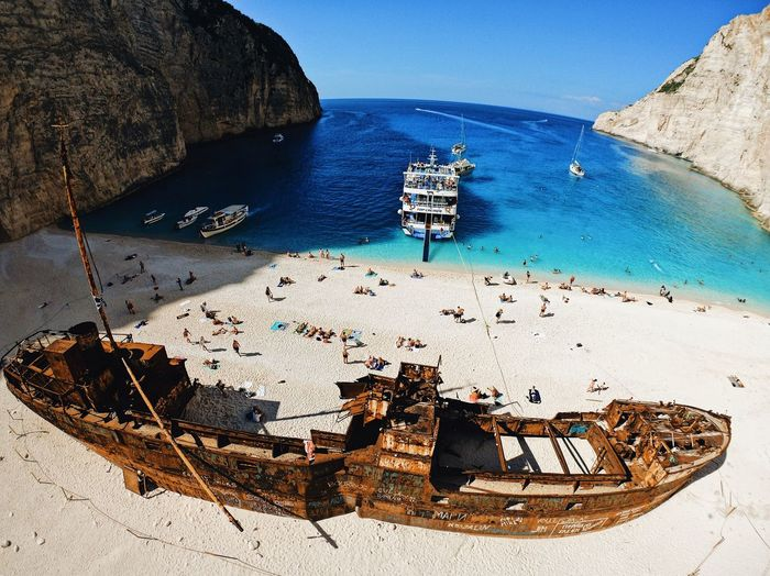 Ship Wreck Navagio beach zakintos Greece NavagioShipwreck Navagio Beach Zakynthos Greece Aerial Photography Aerial View Droneshot Dronephotography Drone  Goprokarma Goprolife Goprophotography Gopro Water Sea Beach Land Sand Nautical Vessel Nature Sunlight High Angle View Travel