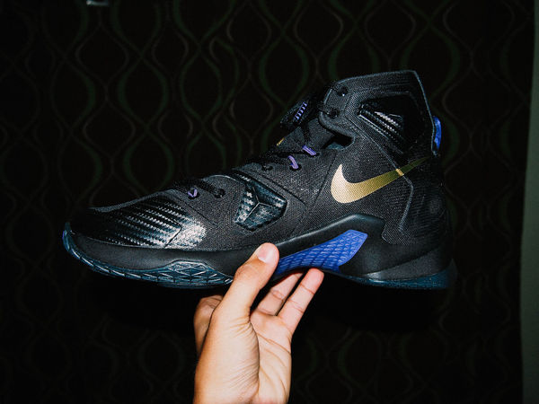 Black Background Blue Close-up Cropped Focus On Foreground Human Finger Lebron James Leisure Activity Lifestyles Natural Pattern Part Of Personal Perspective Shoes Unrecognizable Person