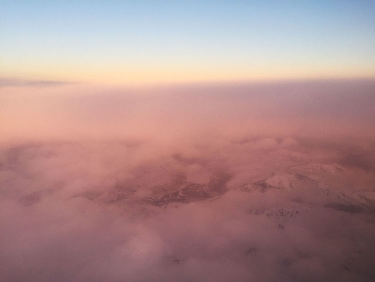 Aerial View Beauty In Nature Cloud - Sky Cold Temperature Day Flying Flying High Fog Horizon Landscape Millennial Pink Nature No People Outdoors Pink Scenics Sky Tranquil Scene Tranquility Winter