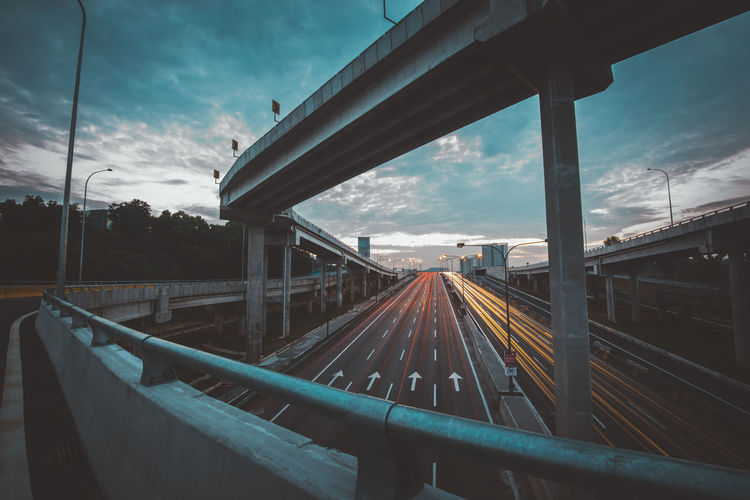 Architecture Bridge Bridge - Man Made Structure Built Structure Cloud - Sky Connection Day Diminishing Perspective Direction Metal Mode Of Transportation Motion Nature No People Outdoors Railing Road Sky The Way Forward Transportation