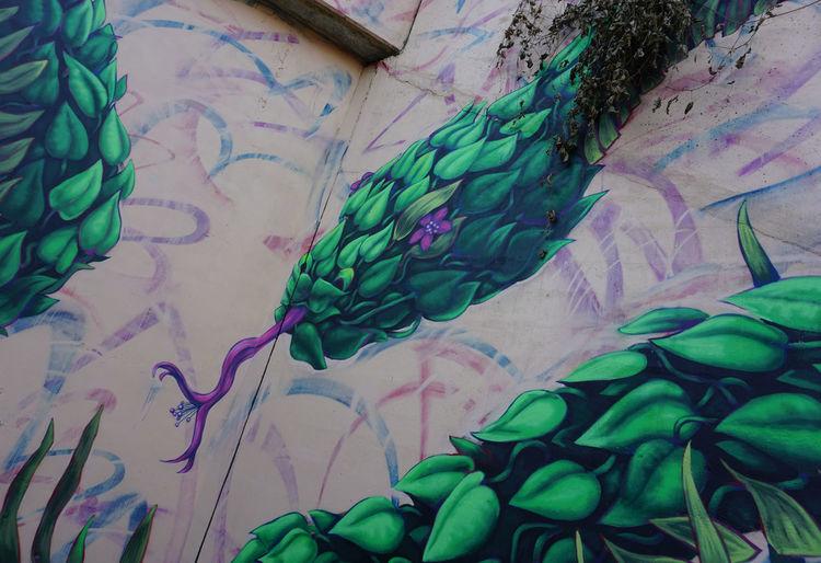 High angle view of graffiti on wall