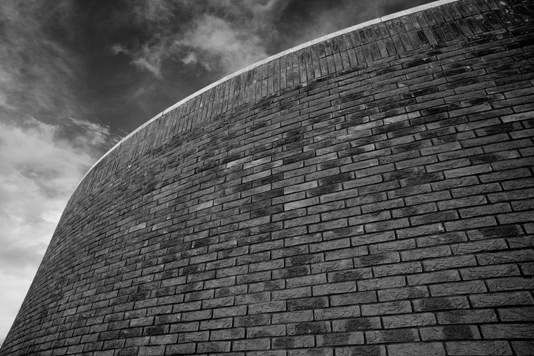 The Edge Of The D (Curved Brick Wall) Architecture Sky Low Angle View Built Structure Building Exterior No People Day Wall Brick Modern Building Brick Wall Wall - Building Feature D-Day Museum Blackandwhite Black And White