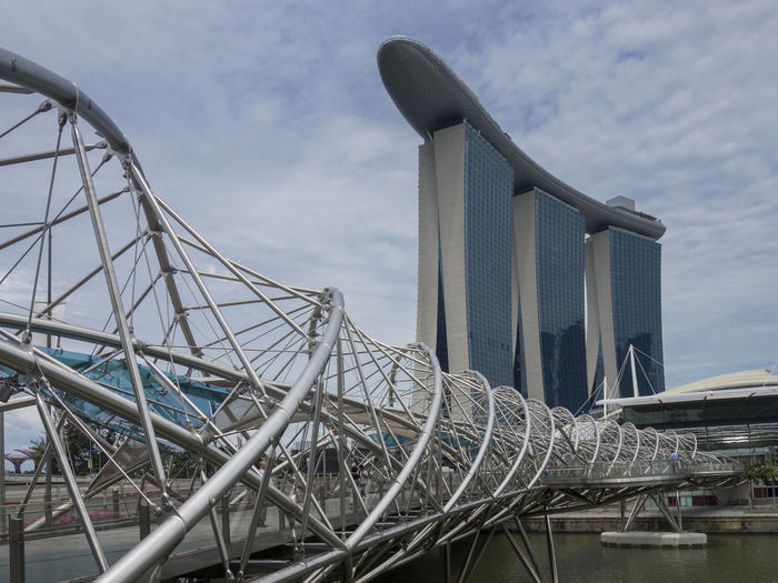 Low Angle View Of Bridge By Marina Bay Sands Against Sky