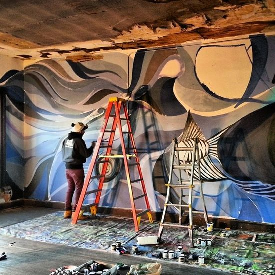 Spontaneous collaboration with @nassarting DAZ Doug in Pekin at the Speakeasy Art Center Thnaks to Shannon and her team for all the hospitality. @offthewallgraffiti