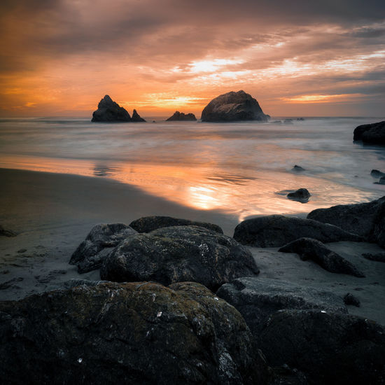 Beach Beauty In Nature Cloud - Sky Dramatic Sky Dusk Horizon Over Water Idyllic Nature Non-urban Scene Orange Color Remote Rock - Object Scenics Sea Shore Sky Sunset Sutro Bath Ruins  Tourism Tranquil Scene Tranquility Vacations Vibrant Color Water