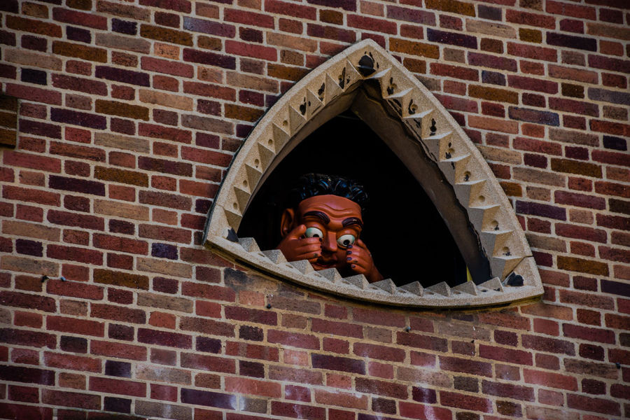 Adult Architecture Brick Wall Clockworks Day Female Female Likeness Headshot Human Representation Low Angle View One Man Only One Person Only Men Outdoors People Statue