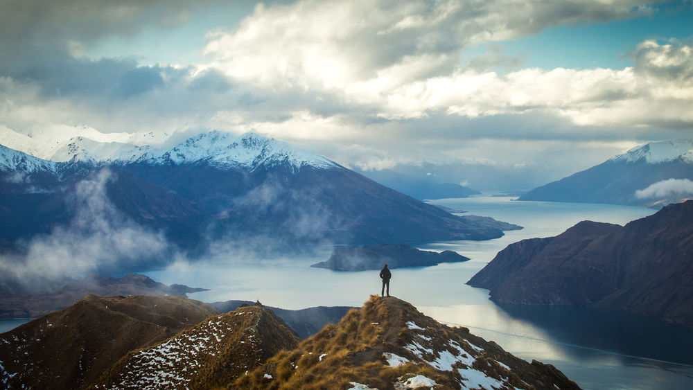 Me at the Roy's Peak Track, New Zealand Adventure Beauty In Nature Cloud - Sky Clouds Day Dramatic Sky Landscape Mountain Mountain Peak Mountain Range Mountain Ridge Nature New Zealand Outdoors Panorama Roys Peak Scenics Selective Focus Selfportrait Sky Snow Vacations Wanderer Water Winter
