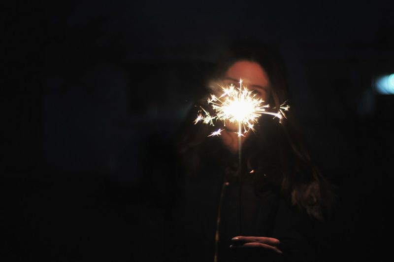 New Year started sooo fast! Firework Display Celebration Exploding Low Angle View Night Sparkler One Person Burning Close-up Firework Sky Outdoors Nightlife Portrait