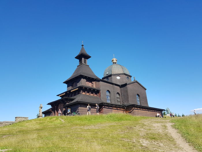 Cyril and Metoděj's chapel on Radhošť mountain Chapel Cyril Metodej Placeforpray Historyof Czech Republic Czech Tourism Tourist Mountain Building Old Old Buildings Madefromwood Wooden Structure Czech Beauty Clear Sky Place Of Worship Ancient Civilization Religion Blue History Sky Architecture