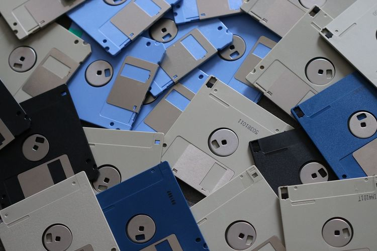Close-up of floppy disk