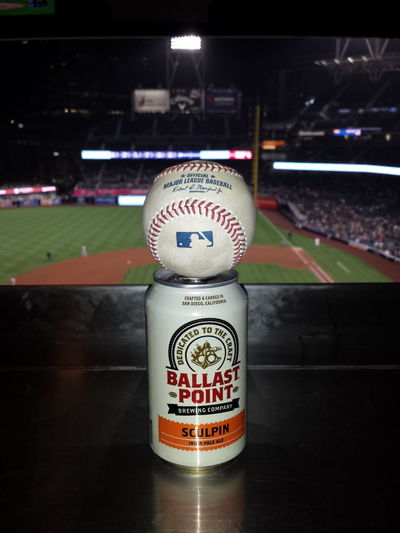 Foulball Padres Close-up Focus On Foreground Beer Sculpin IPA