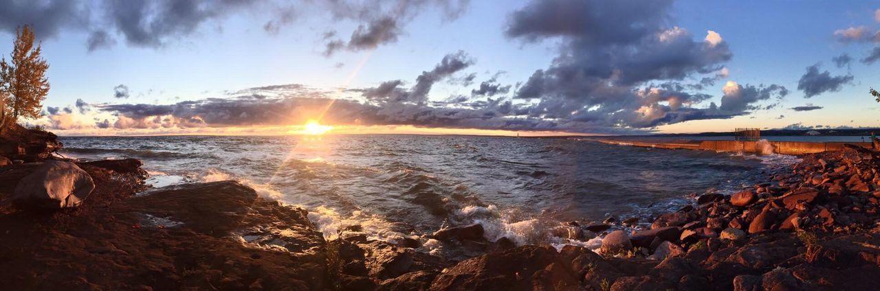 Marquette Michigan Marquette Michigan Upper Peninsula Michigan Sunrise Lake Lake Superior Upper Michigan Shore Waves Rocks And Water Sunset Panorama Panoramic Photography