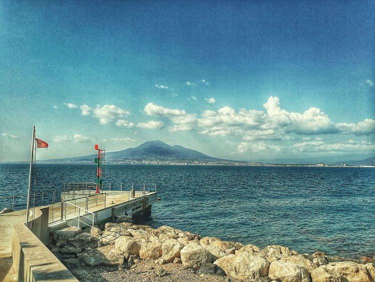 Golfo Di Napoli #napoli Water Sea Beach Sky Horizon Over Water Cloud - Sky Sandy Beach Calm