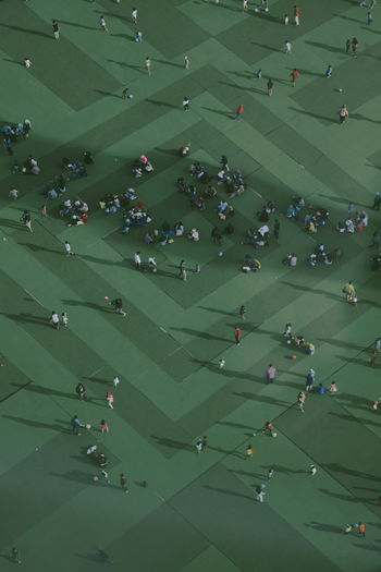 We are all small. High Angle View Crowd Group Of People Aerial View Outdoors Shadow Shadows & Lights Green Color People