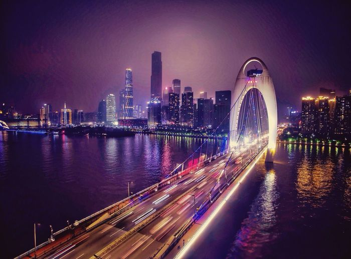 珠江新城,猎德桥 Aerial Shot Bridge Building Night Lights Check This Out Night River Dji Hi! Zhujiang New Town Guangzhou China