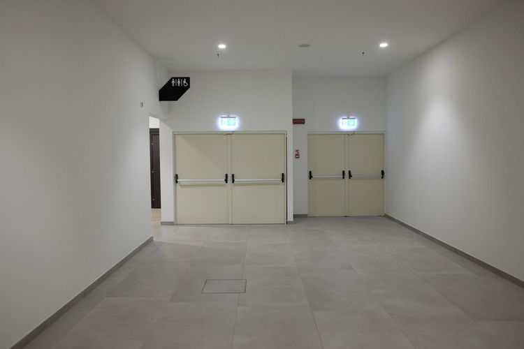 entry to public toilets mall Entrance Modern Panic Restroom Toilet Architecture Corridor Door Empty Illuminated Indoors  Mall No People
