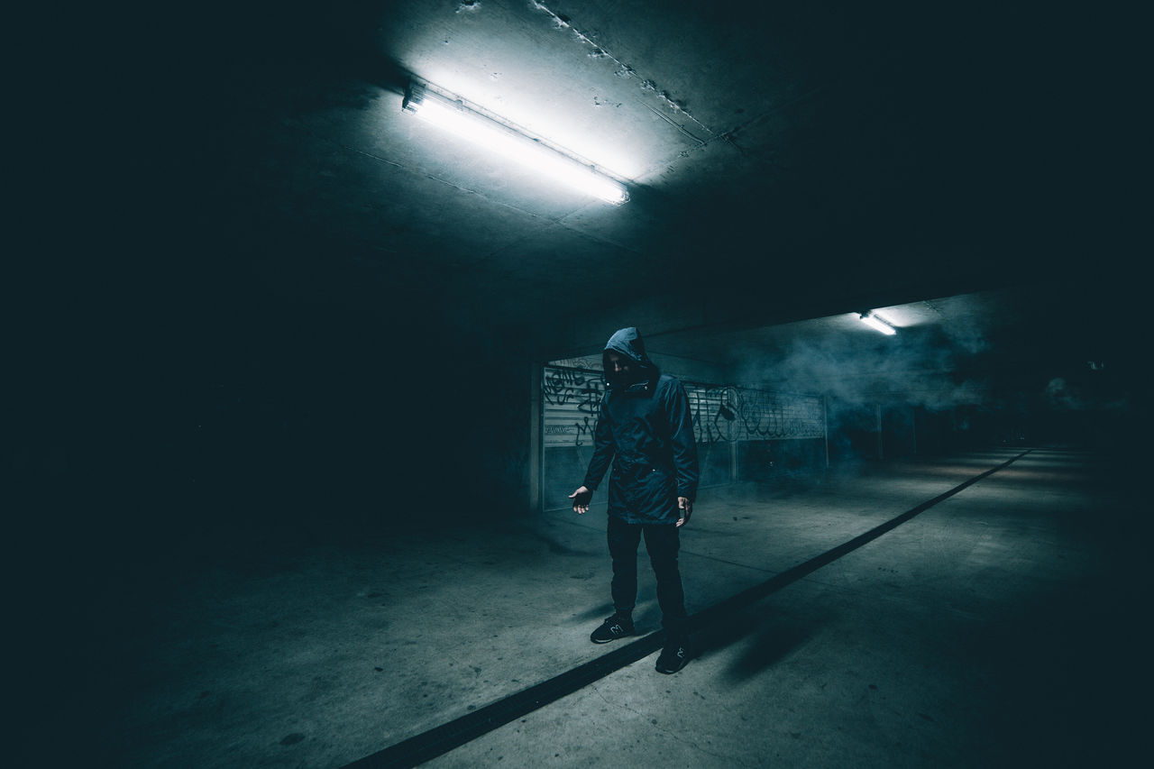 Man in tunnel
