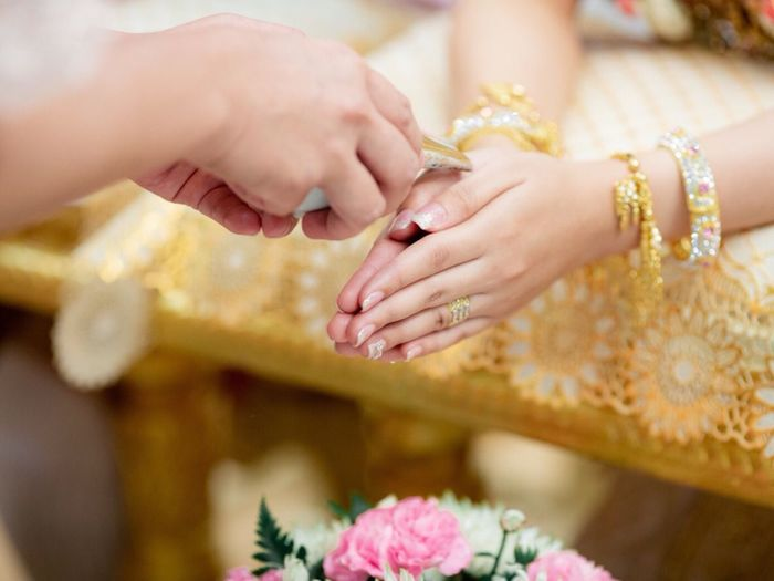 Thailand married culture Human Hand Human Body Part Hand Jewelry Adult Women Ring Wedding Celebration Bride Flowering Plant Flower Two People Indoors  Newlywed Event Life Events Nail Ceremony Focus On Foreground