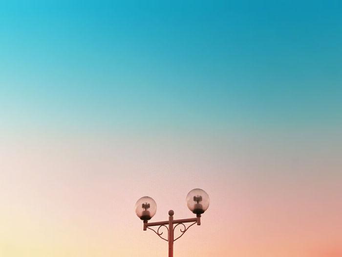Lamp Blue Blue Color Clear Sky Color Colors Copy Space Minimalism Minimalism Photography Pink Pink Color Sky голубой минимализм розовый цвет EyeEm Diversity The Architect - 2017 EyeEm Awards