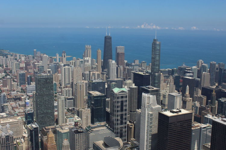 Willis Tower, Sky Deck, Chicago Chicago Chicago Architecture Willis Tower Architecture Building Exterior Built Structure City Cityscape Crowded Day Downtown District Growth High Angle View Modern Outdoors Sea Sky Skyscraper Tall Tower Travel Destinations Urban Skyline Water