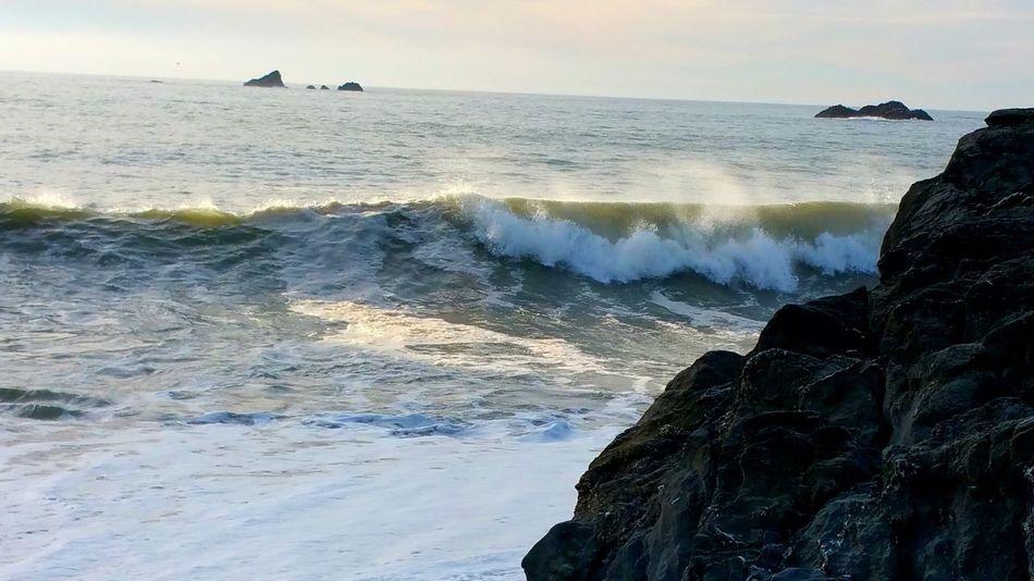 Solid & Fluid Boulder Rock Powerful Waves Waves Distance Depth Zen Meditation Awe Inspiring Rewilding Sand Beach Spray Reflection Light Sea Rock - Object Horizon Over Water Nature Beach Wave Scenics Sky Water Outdoors Cliff