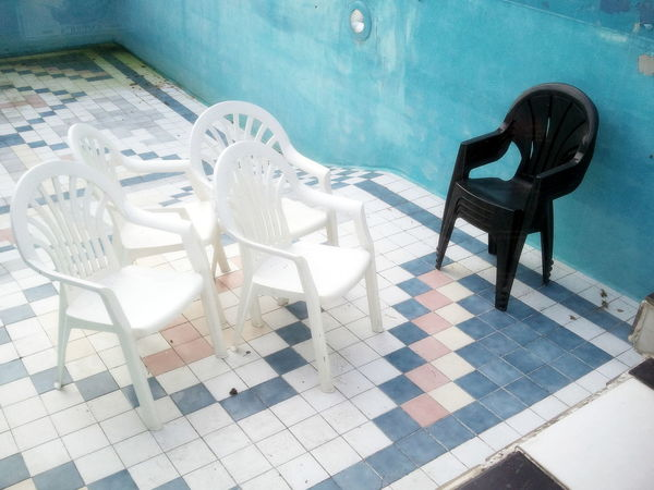 Black Black And White Black Chair Blue Chair Empty Empty Pool Ensemble Large Group Of Objects No Water Old Old Tiles Pastel Power Samsung Galaxy S3 Seat Swimming Pool Tiles White White Chairs Smartphonephotography