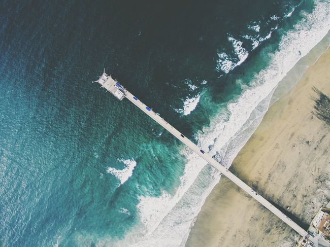 Pier. Outdoors Water Jolla Drone  VSCO Beach Waves Ocean Nature Water Nature Frost Day Outdoors Wake - Water Tranquility No People Full Frame First Eyeem Photo
