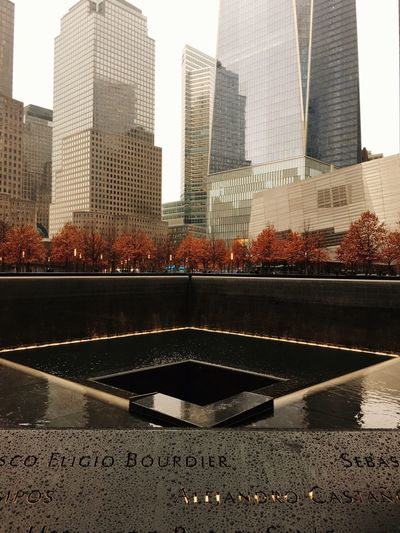 World Trade Buildings and the Memorial Pools  in Lower Manhattan || NYC World Trade Center New York City One World Trade Center Memorial Park Fall Winter Trees Folliage Architecture Fall Beauty Fall Colors Fall Leaves Autumn Autumn🍁🍁🍁