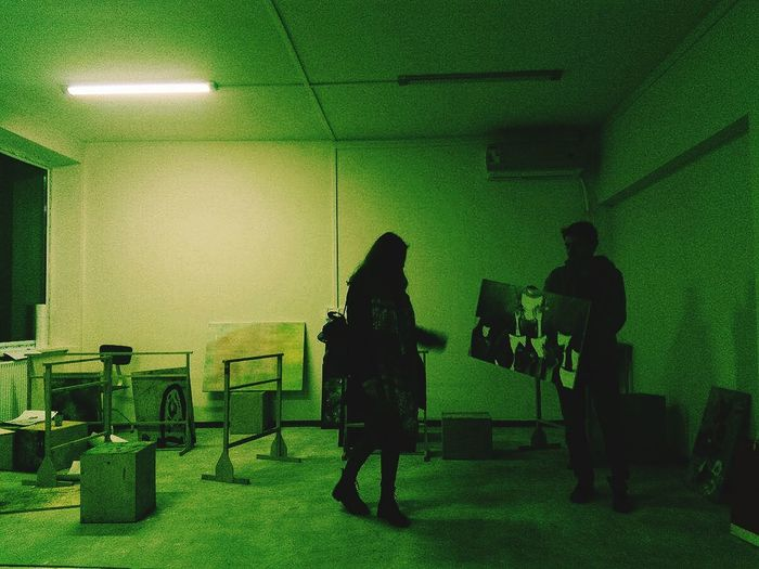 Galery Art Room Green Green Room Real People People Indoors  Full Length Adult Lifestyles Standing Women Men Illuminated Wall - Building Feature Seat Architecture Lighting Equipment Silhouette Ceiling Rear View Leisure Activity Shadow Waiting