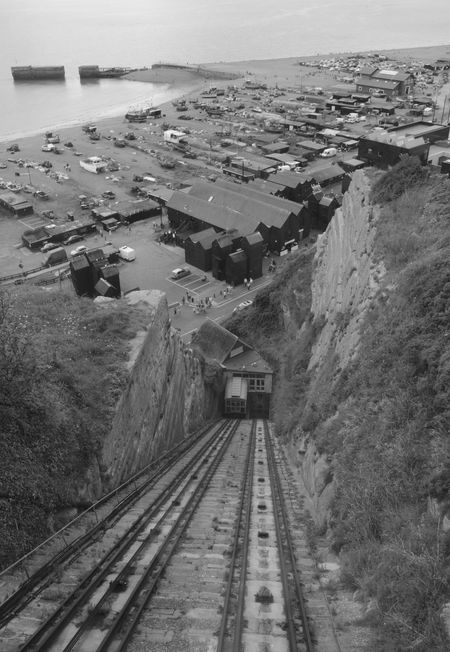 Architecture Building Exterior Composition Day Destination Diminishing Perspective Hastings East Hill Cliff Railway High Angle View Journey Leading Narrow Outdoors Perspective Rail Transportation Railroad Track The Way Forward Transportation Travel Vanishing Point