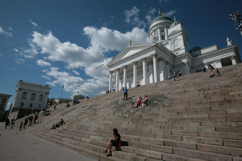 Helsinki Helsinki Adventures In The City Architectural Column Architecture Building Built Structure Day Group Of People History Lifestyles People Real People Sky Staircase Tourism Travel Travel Destinations