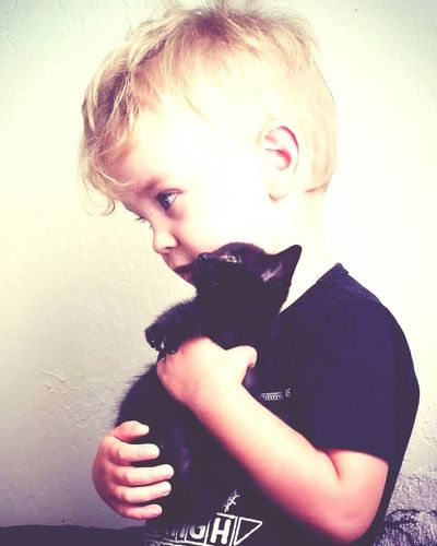 Childhood Pets Feline Boys With Dimples Oregon Boy One Animal Animal Love Real People Domestic Animals Domestic Cat Blue Eyed Boy EyeEmNewHere