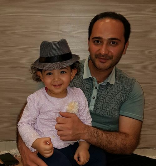 Looking At Camera Two People Child Portrait Smiling People Indoors  Females Adult Cute Cheerful Childhood Uncle عمو Hat کلاه