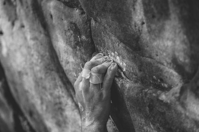 Human Hand Rock Climbing Climbing Outdoors Close-up Black And White Blackandwhite Hand Fresh On Market 2016