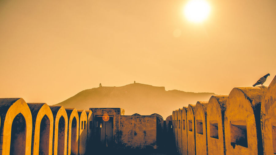 Amber fort against sky on sunny day