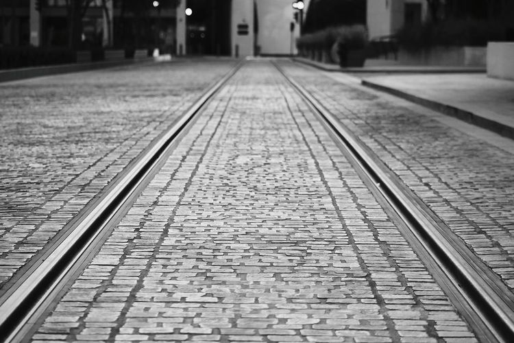 Black & White Black And White Railroad Track Railroad Station Platform Rail Transportation Diminishing Perspective Architecture Tramway Straight Railroad Station Railway Track Public Transportation The Art Of Street Photography