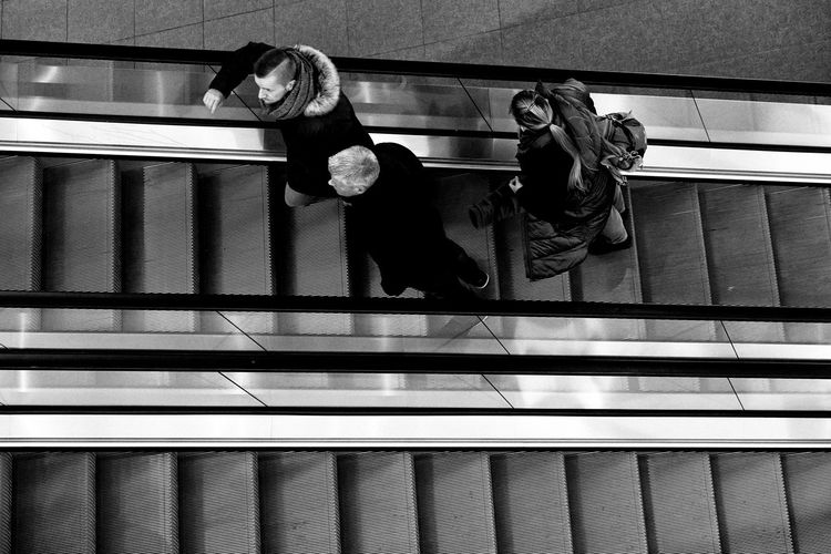 people in a mall in Berlin Staircase High Angle View People Real People Full Length Escalator Black And White Streetphotography Street Photography Mall