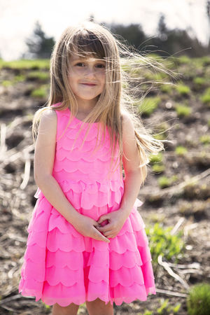 Child Childhood Day Females Front View Girls Hair Hairstyle Innocence Land Long Hair Looking At Camera One Person Outdoors Pink Color Pre-adolescent Child Smiling Standing Three Quarter Length Women