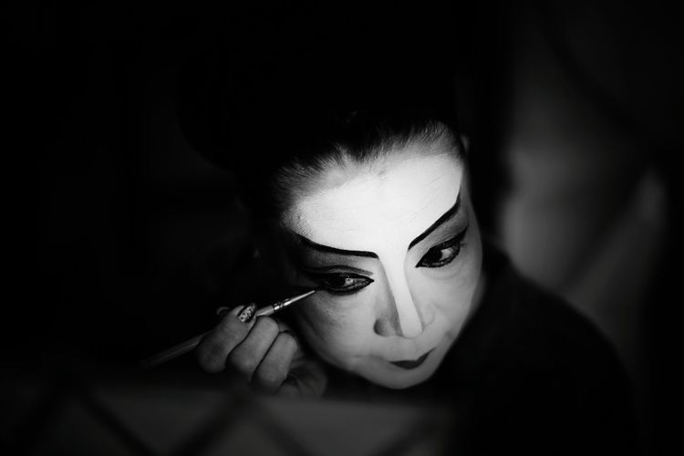 Shades Of Grey Portrait Of A Teochew Opera Singer Black And White Traditional Culture Asia Art Form Painted Face Lady Makeup Artist Chinese Opera Troupe Light And Shadow Asian Woman B&w Street Photography