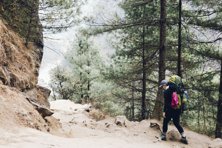 EBC Trek 2018 The Week on EyeEm Trekking Activity Adventure Backpack Day Forest Forestwalk Full Length Hiking Land Leisure Activity Lifestyles Nature One Person Outdoors Plant Real People Rear View River Tree Walking Warm Clothing Winter WoodLand