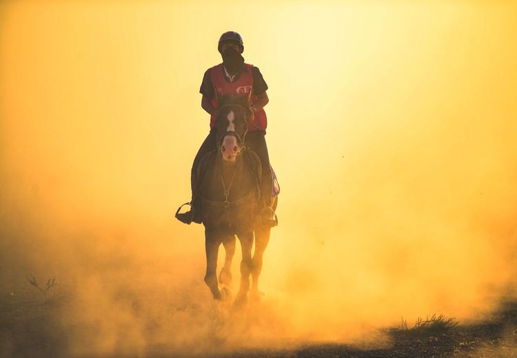 Man riding horse on field against orange sky during sunset