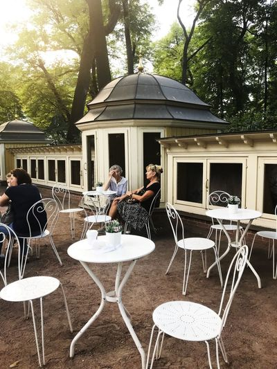 Chair Table Seat Sitting Restaurant Architecture Business Women Real People People Cafe Tree Nature Food And Drink Built Structure Building Exterior